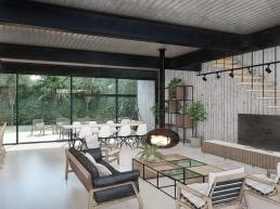 cornetta arquitetura, projeto, arquitetura, concreto aparente, estrutura metalica, minimalista