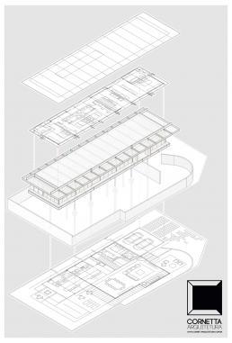 cornetta arquitetura, arquitetura, casas modernas, estrutura metalica, axonometrica, isometrica, bim, revit