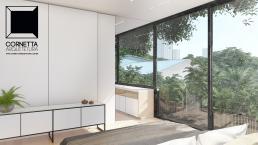 cornetta arquitetura, projeto, arquitetura, concreto aparente, estrutura metalica, suite, moderna