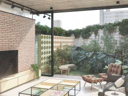 cornetta arquitetura, casas modernas, estruturas metalicas, sala de estar, laje painel