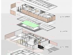 casas modernas, casas prefabricadas, estruturas metalicas, bim, axonometrica