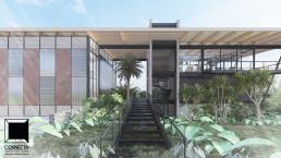 cornetta arquitetura, projetos, arquitetura, casas modernas, estrutura metalica, fachada, passarela, jardim