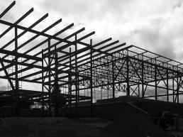 casa, hangar, fachada, estrutura metalica, steel house