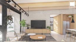 cornetta arquitetura, projetos, arquitetura, casas modernas, estrutura metalica, loft, estar, bloco, concreto, aparente
