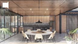 cornetta arquitetura, casas modernas, estruturas metalicas, cozinha, jantar, iambientes integrados, ambientes conjugados
