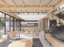 cornetta arquitetura, casas ecologicas, madeira laminada colada, mlc, ambientes integrados, escada, living