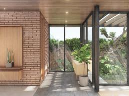 cornetta arquitetura, casas modernas, estruturas metalicas, prefab, steel, houses, jardim interno