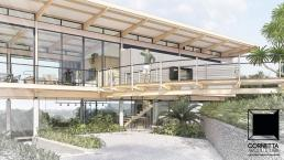 cornetta arquitetura, projetos, casas modernas, madeira laminada colada, mlc, passarela