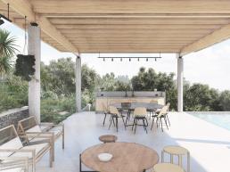 casas modernas, varanda, madeira, lazer, piscina, mirante