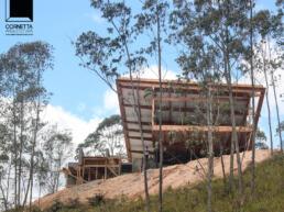 casas modernas, casas de madeira, terreno, declive, encosta, mata, bosque, serra