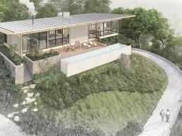 casas modernas, casas ecologicas, madeira laminada colada, declive, mata, preservação