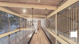 cornetta arquitetura, casas modernas, madeira laminada colada, passarela, pé direito duplo