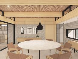 casas modernas, estruturas de madeira, ambientes integrados conjugados