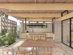 varanda gourmet, madeira, pedra, ilha