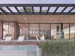 cornetta arquitetura, casas modernas, estruturas metalicas, pergolado, piscina suspensa