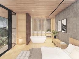 cornetta arquitetura, casas modernas, estruturas metalicas, suite, banheira, spa