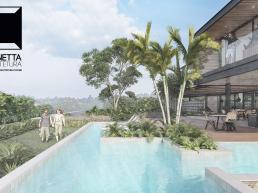 piscina, raia, concreto aparente, deck, lazer