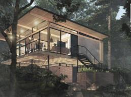 casas modulares, arquitetura modular, loft, cabana, madeira laminada colada, glulam, ecohouse