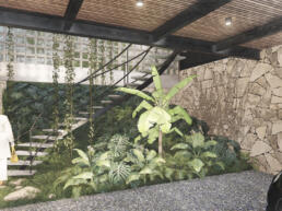 casas, jardim interno, garagem, madeira, pedra, rustico
